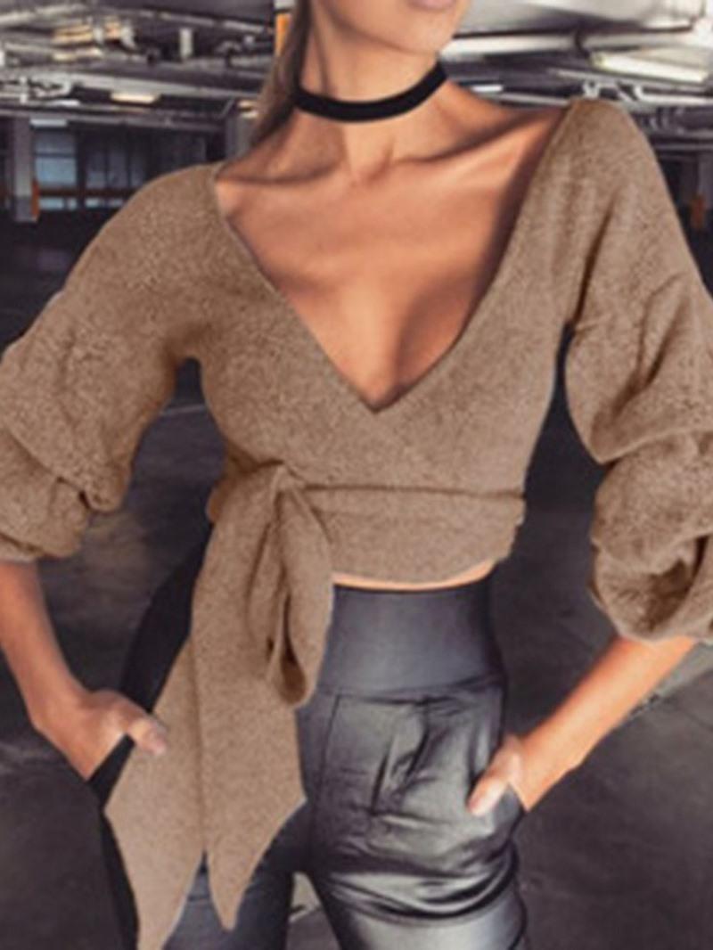 Ericdress V-Neck Lantern Sleeve Lace-Up Short Sexy Sweater
