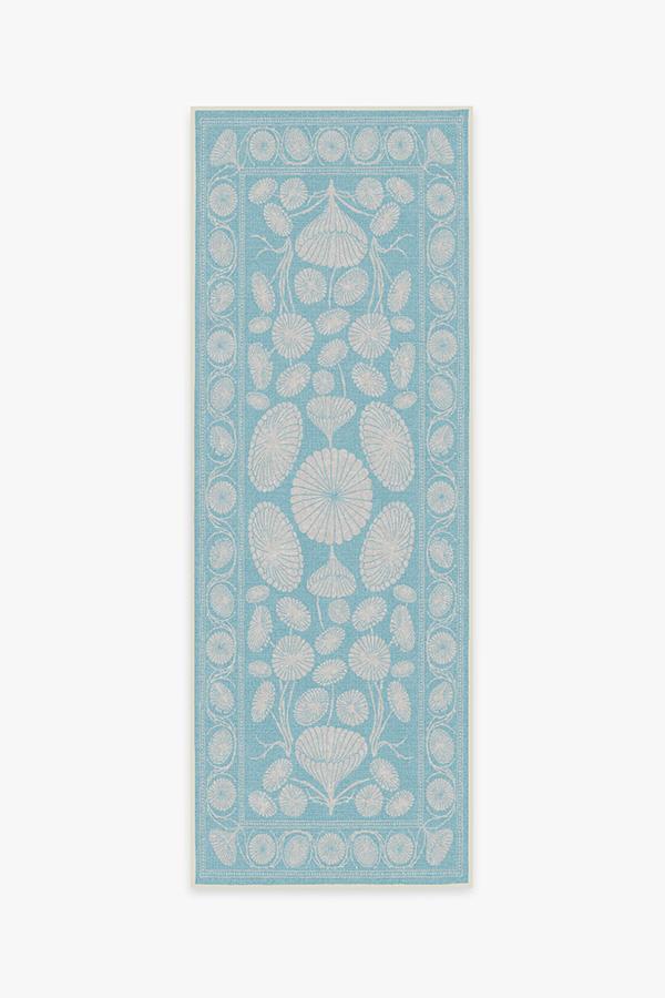 Washable Rug Cover & Pad | Cynthia Rowley Suzani Powder Blue Rug | Stain-Resistant | Ruggable | 2.5'x7'