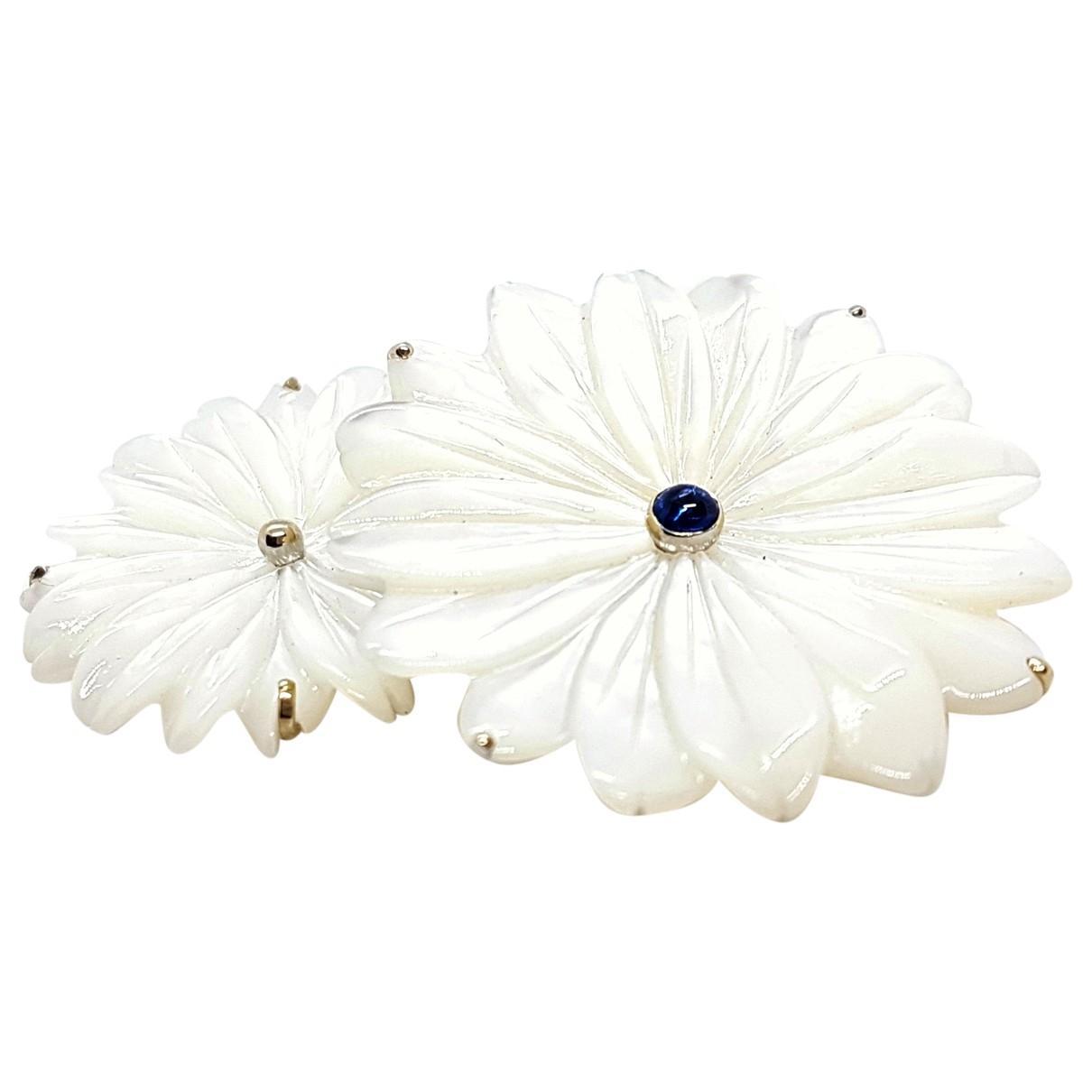 Broche Motifs Floraux de Oro blanco Non Signe / Unsigned