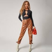 Pocket Side D-ring Strap Hem PU Leather Pants