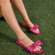 Minimalist Bow Decor Slide Sandals
