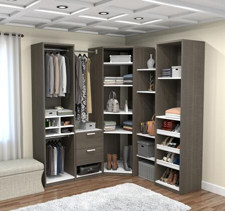 80858-47 Deluxe Corner Walk-In Closet in Bark Gray and