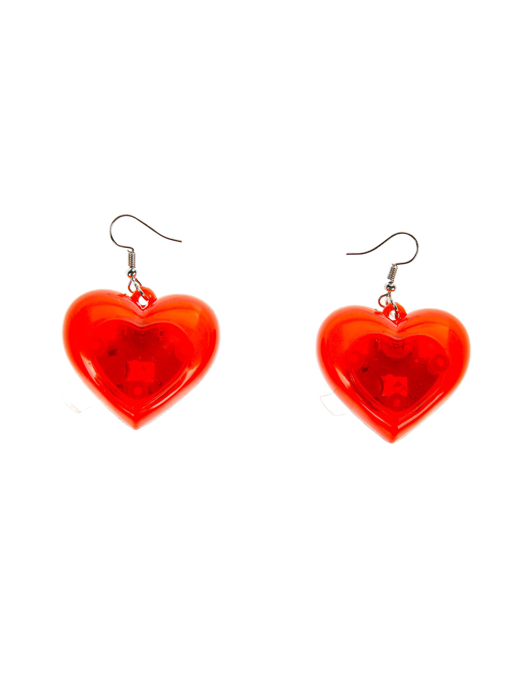 Kostuemzubehor LED Ohrringe Herz Farbe: rot
