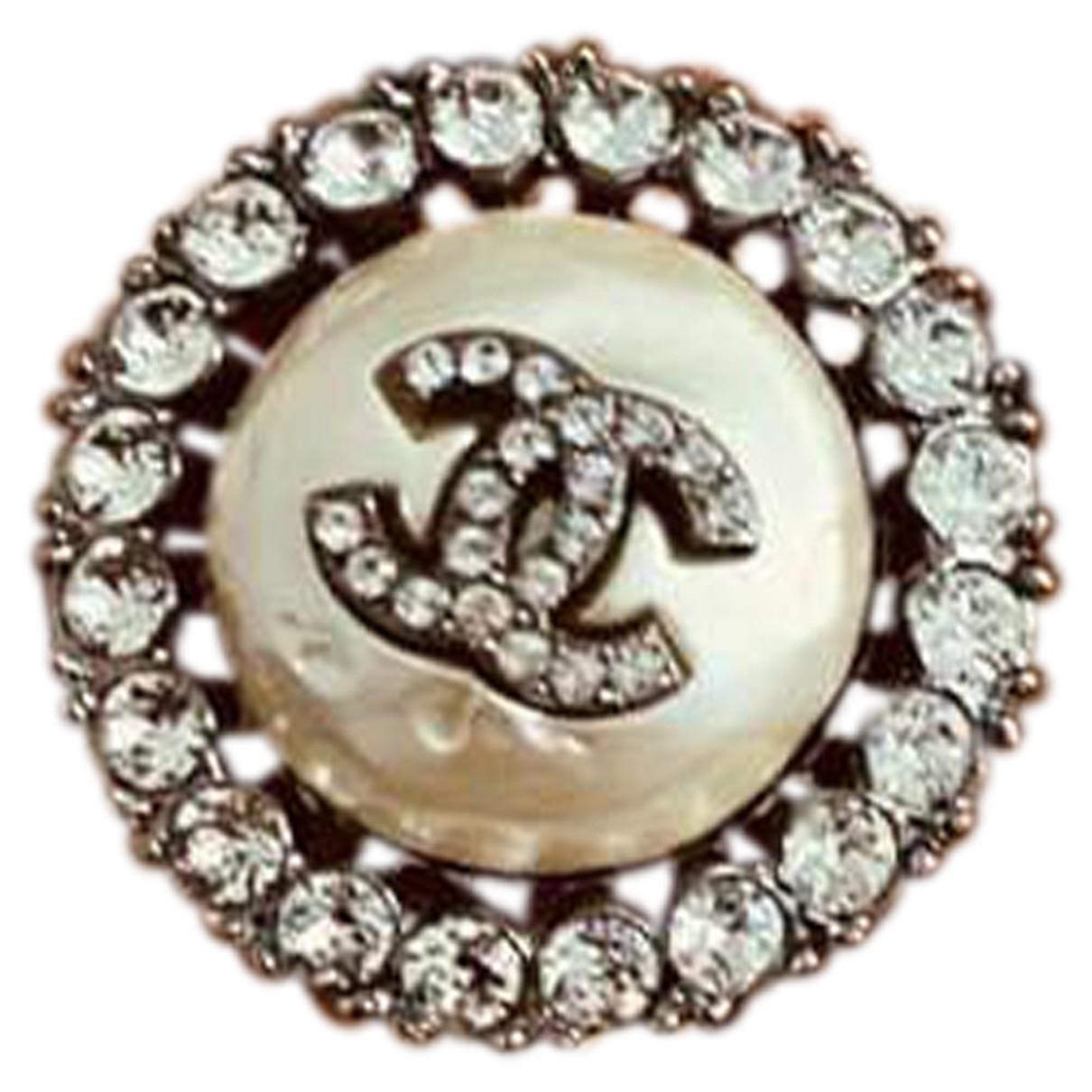 Chanel - Bague CC pour femme en metal - blanc