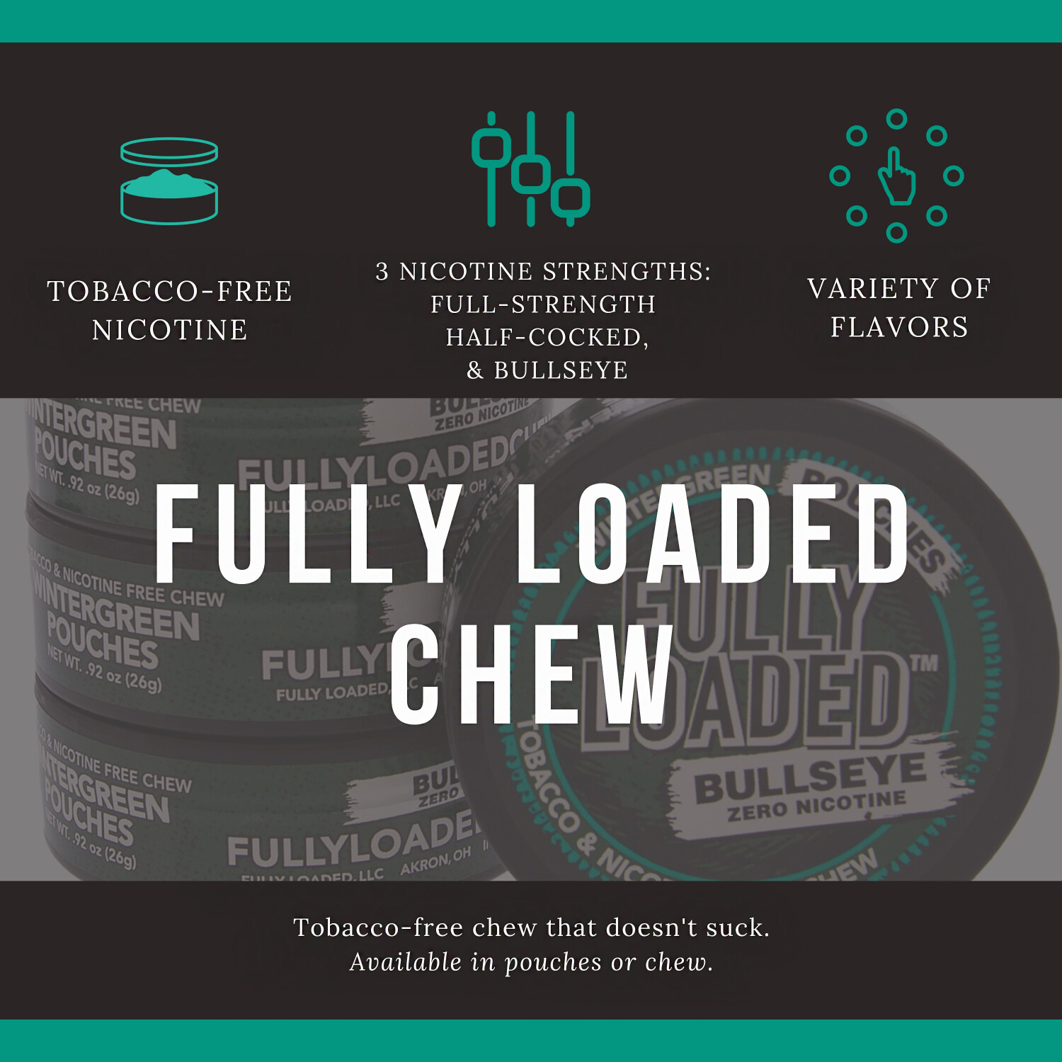 Fully Loaded Chew Tobacco and Nicotine Free Mint Bullseye Long Cut Bold Flavor, Chewing Alternative-5 Cans