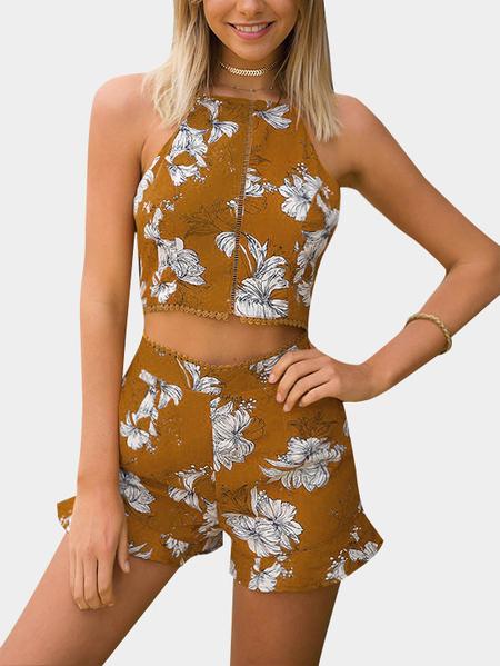 Yoins Yellow Random Floral Print Sleeveless Top & Two Pockets Shorts Co-ord