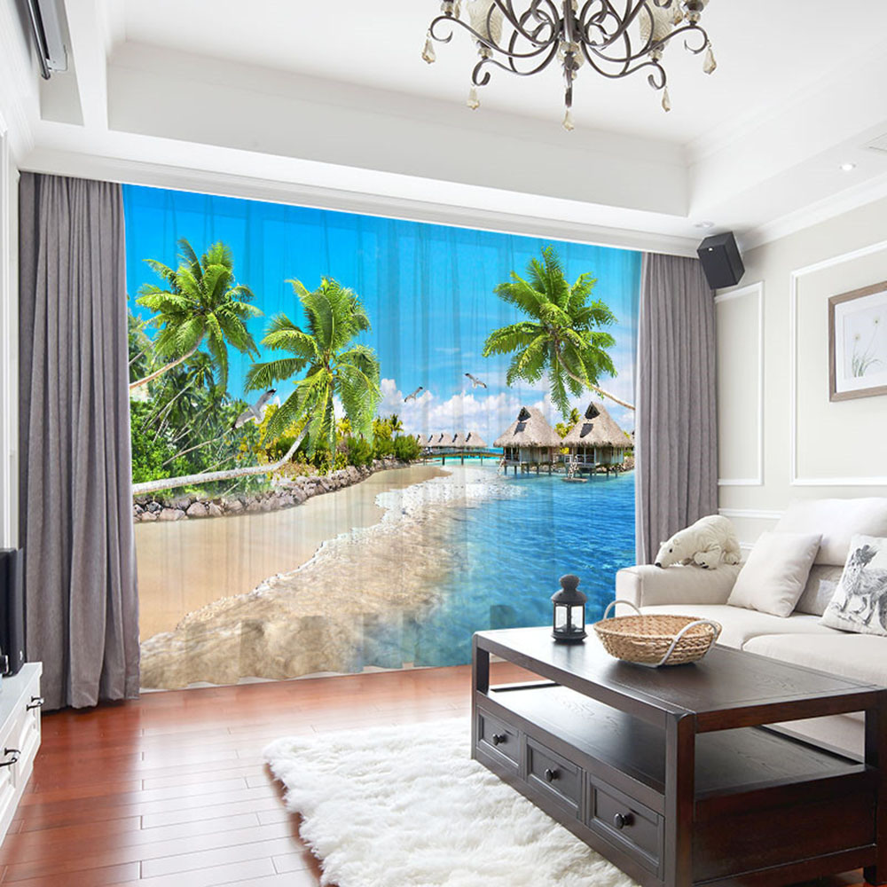 3D Beach and Palm Trees Printed Sheer Curtains for Living Room 30% Shading Rate No Pilling No Fading No off-lining