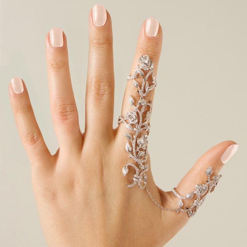 Ericdress Exquisite Rose Diamante Adjustable Ring