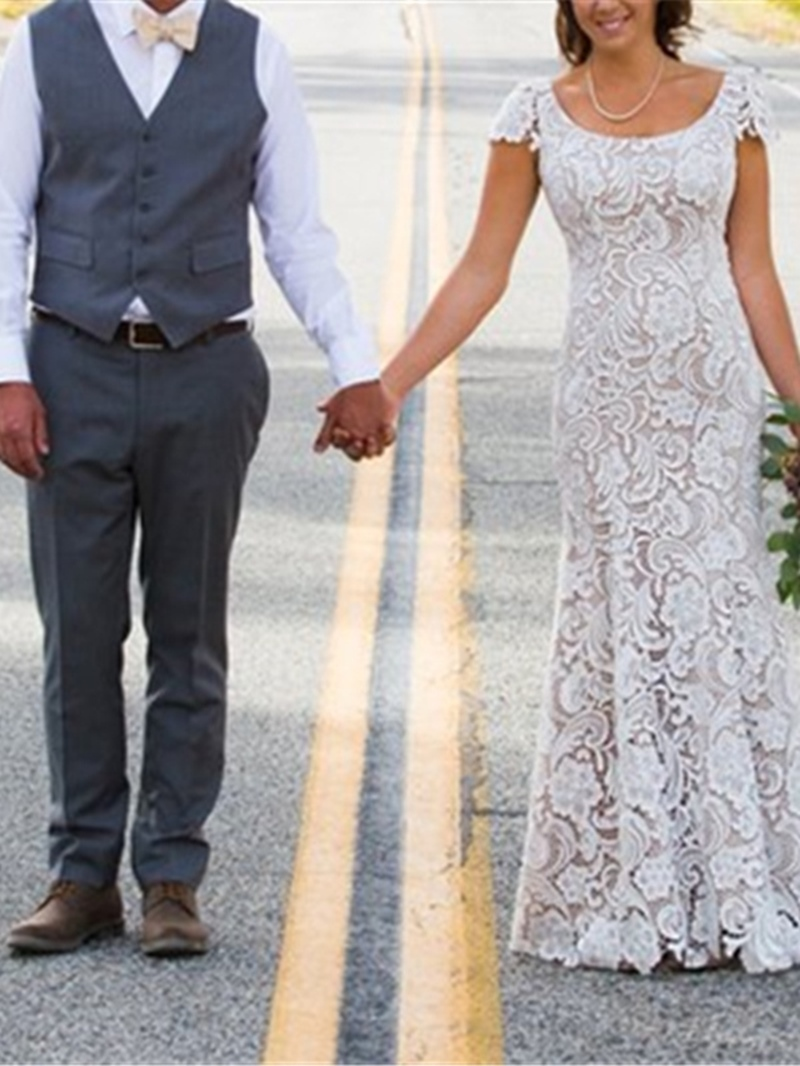 Ericdress Mermaid Cap Sleeve Lace Wedding Dress