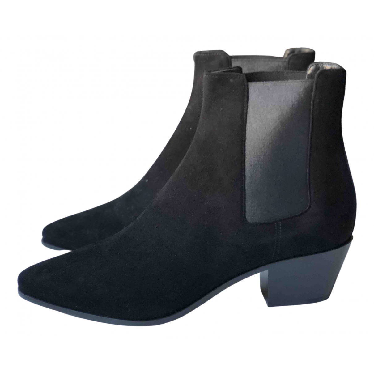 Yves Saint Laurent \N Black Suede Ankle boots for Women 37 EU