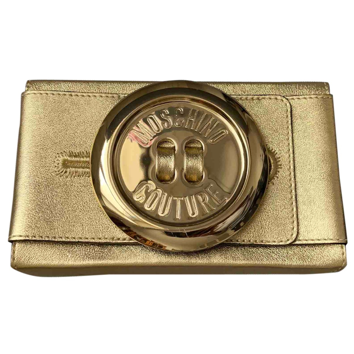 Moschino N Gold Leather Clutch bag for Women N