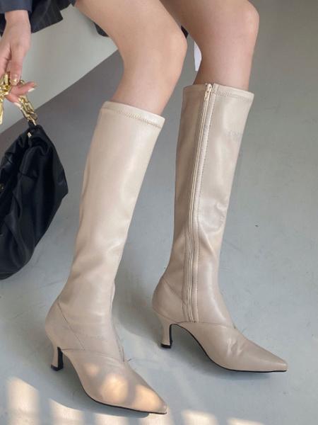 Milanoo Las mujeres Rodilla Botas de cuero de la PU del dedo del pie del estilete de albaricoque en punta Length Boots talon rodilla
