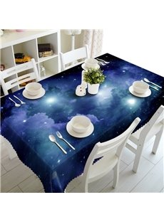 3D Vast Galaxy and Blue Starry Sky Printed Oil-Proof and Durable Table Cover Cloth