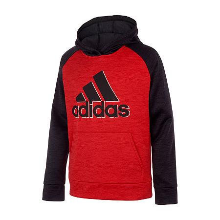 adidas Big Boys Cuffed Sleeve Hoodie, X-large (18-20) , Red