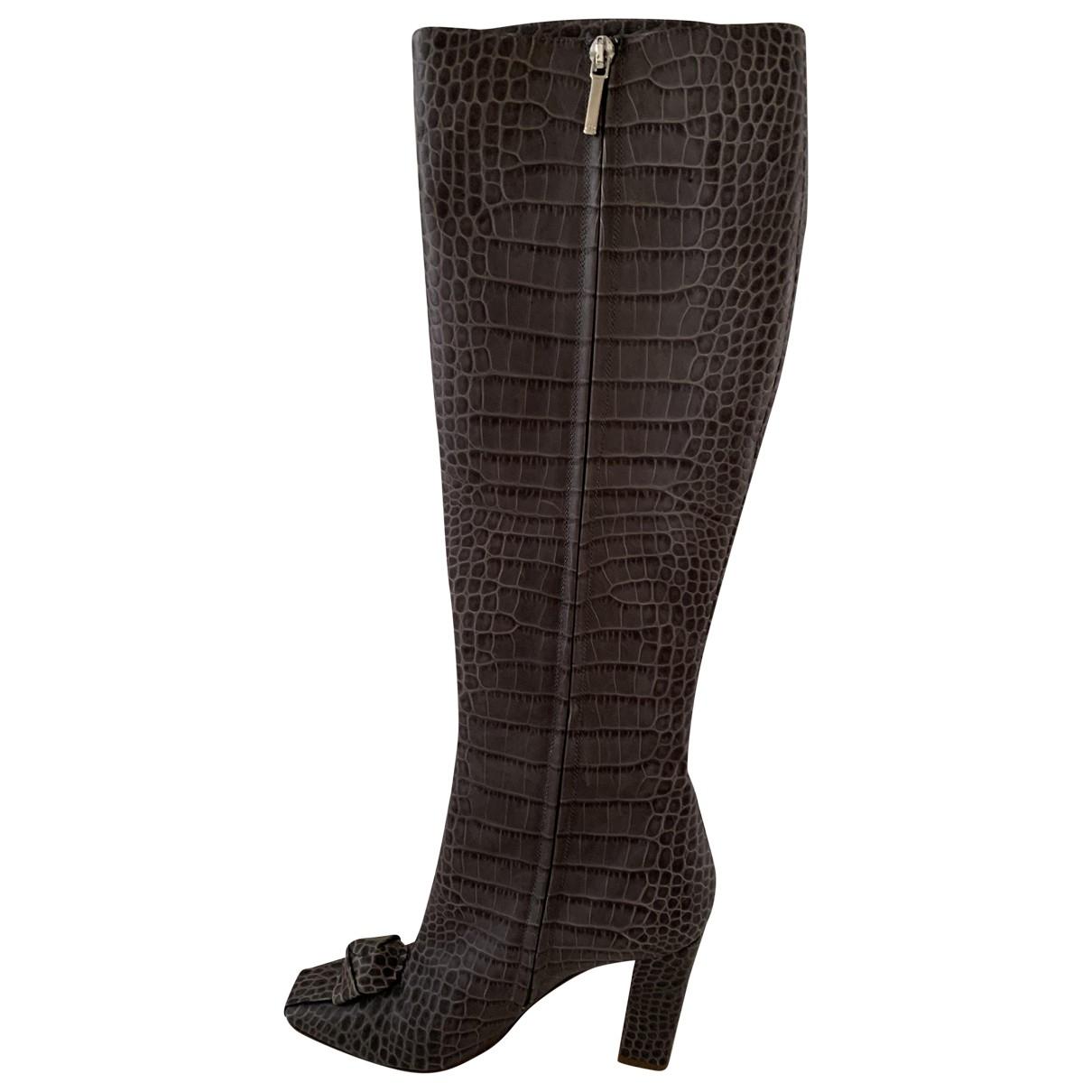 Dior - Bottes   pour femme en cuir - gris