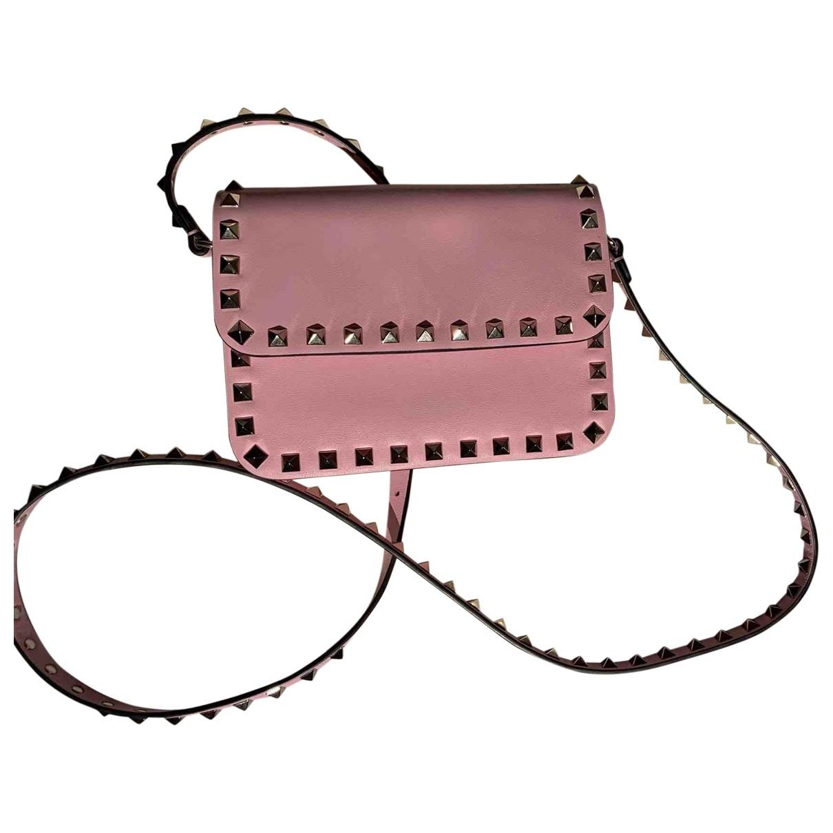 Valentino Garavani - Sac a main Rockstud spike pour femme en cuir - rose