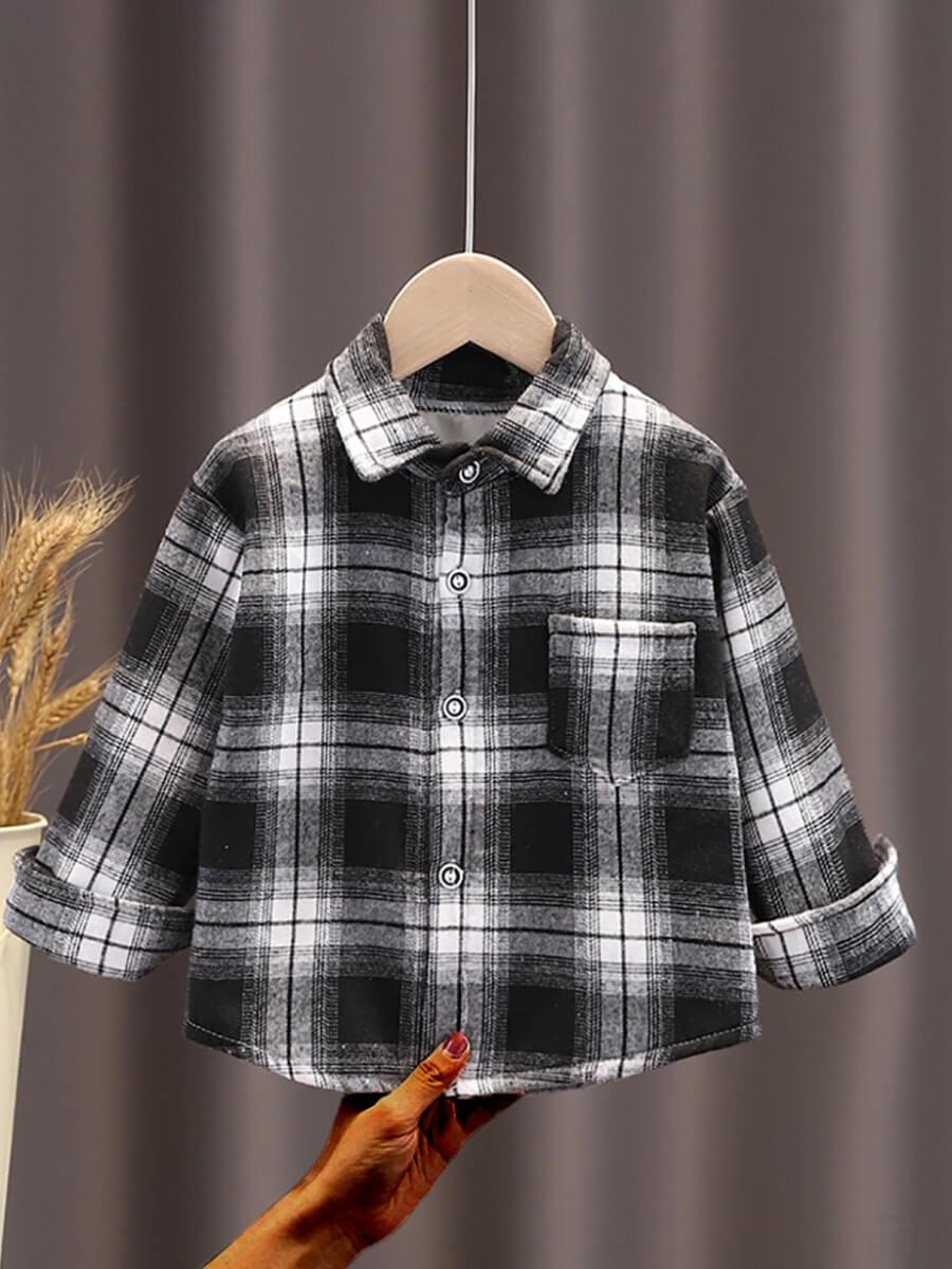 LW Lovely Trendy Shirt Collar Grid Print Black And White Boy Shirt