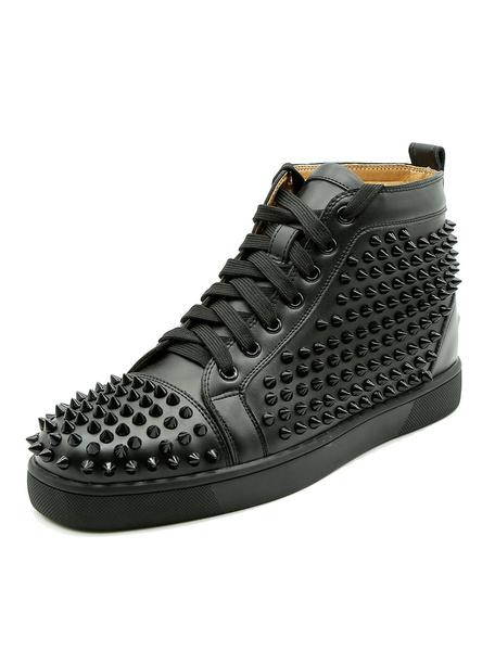 Milanoo Zapatos negros del patin Los remaches redondos del dedo del pie de los hombres atan para arriba las zapatillas de deporte superiores