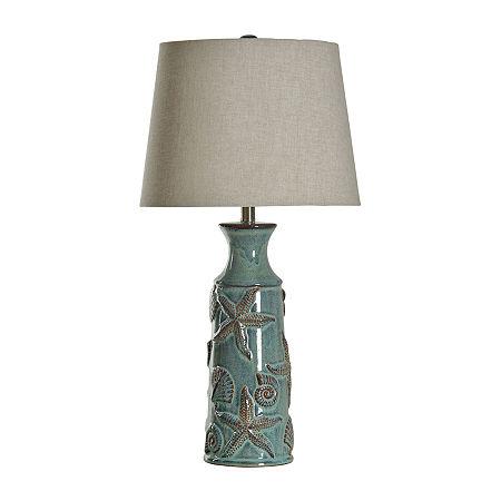 Stylecraft 15 W Blue Bay Ceramic Table Lamp, One Size , Blue