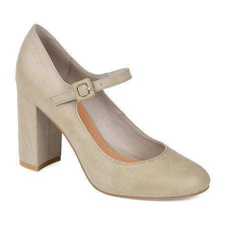 Journee Collection Womens Shayla Buckle Round Toe Block Heel Pumps, 10 Medium, Gray