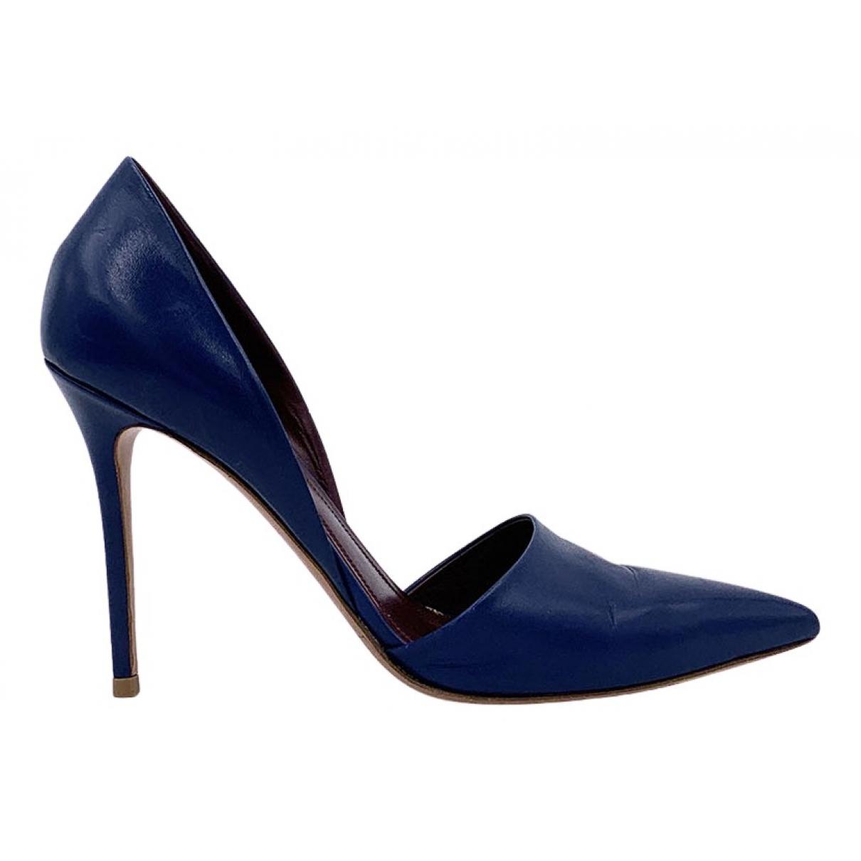 Celine - Escarpins   pour femme en cuir - bleu