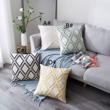 Rhombus Pattern Embroidery Cushion Cover 1pc