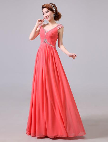 Milanoo Vestido de fiesta barato de linea A hasta el suelo con cuello en V sin mangas Cremallera para baile