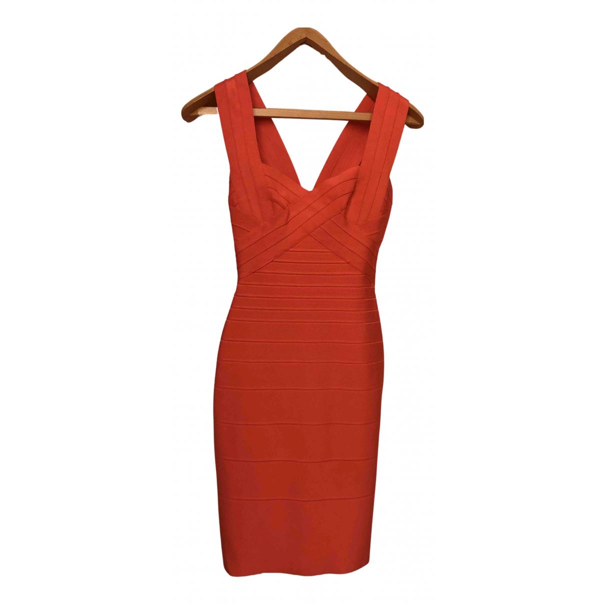 Herve Leger \N Kleid in  Orange Synthetik