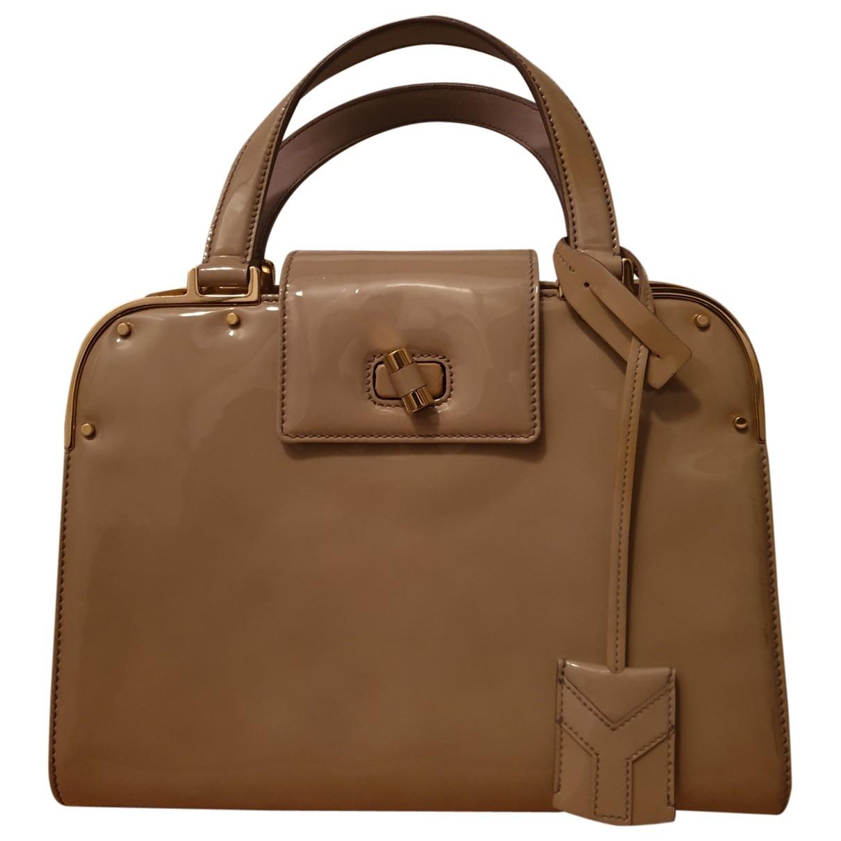 Yves Saint Laurent \N Handtasche in  Ecru Lackleder