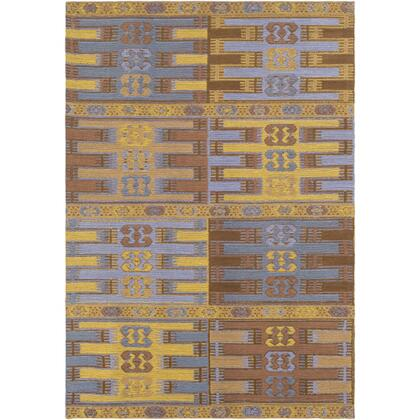 SAJ1078-46 4' x 6' Rug  in Camel and Sky Blue and