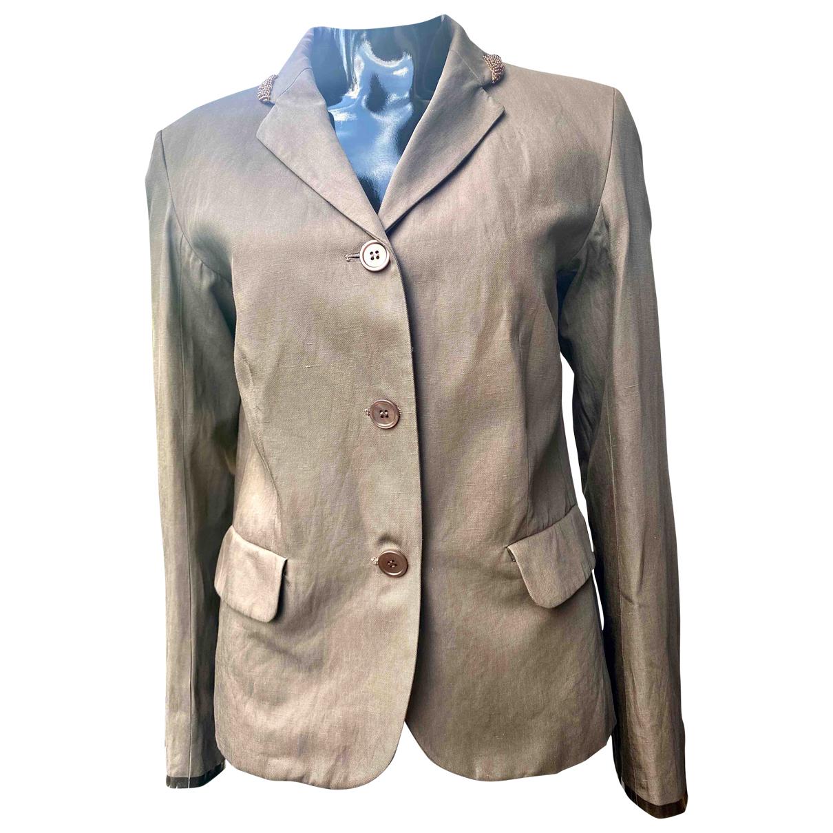 Max Mara 's N Beige Linen jacket for Women 42 FR