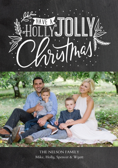 Holiday Photo Cards 5x7 Cards, Premium Cardstock 120lb with Elegant Corners, Card & Stationery -Holly Jolly Topper