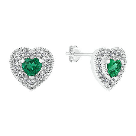 Lab Created Green Emerald Sterling Silver 9.5mm Heart Stud Earrings, One Size , No Color Family