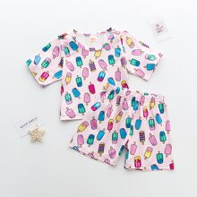 Toddler Girls Allover Popsicle Print PJ Set
