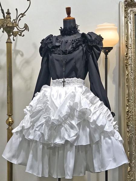 Milanoo Gothic Lolita SK White Lace Up Ruffles Lolita Skirts