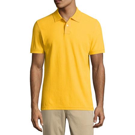 Arizona Mens Short Sleeve Polo Shirt, X-small , Yellow