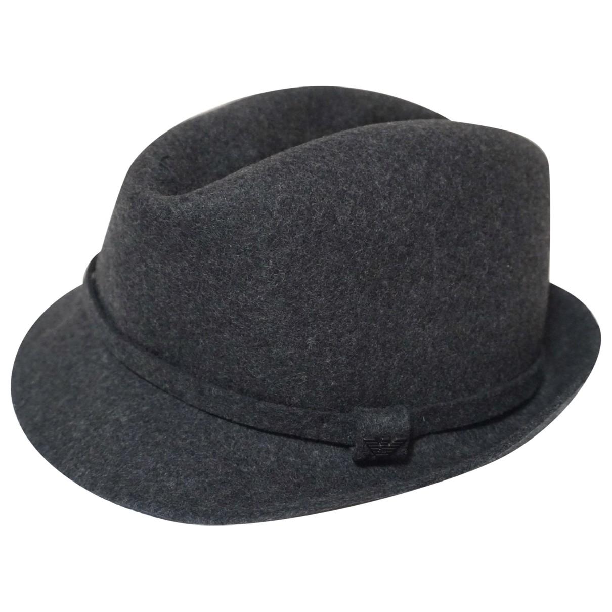 Emporio Armani - Chapeau & Bonnets   pour homme en laine - gris