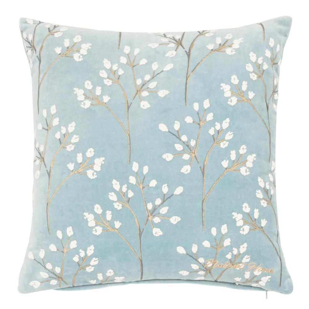 Kissenbezug aus Baumwolle, blau mit Pflanzenstielmotiv 40x40