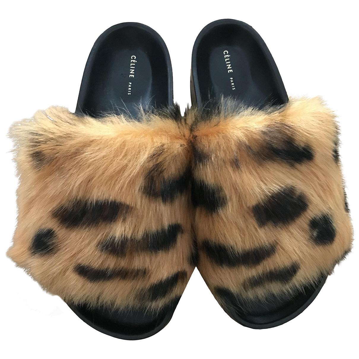 Celine Twist  Black Faux fur Sandals for Women 36 EU