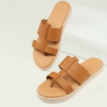 Double Band Open Toe Thong Flatform Sandals