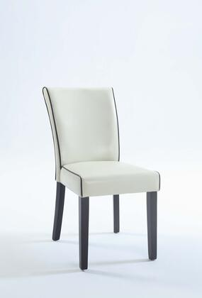 Michelle Collection MICHELLE-PRS-SC-CRM Parsons Chair with Satin Black Tapered Legs and Bonded Leather Upholstery in Cream