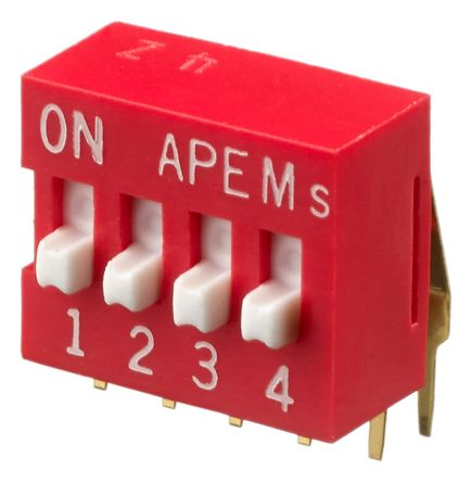 APEM 4 Way Through Hole DIP Switch SPST, Raised Actuator (39)