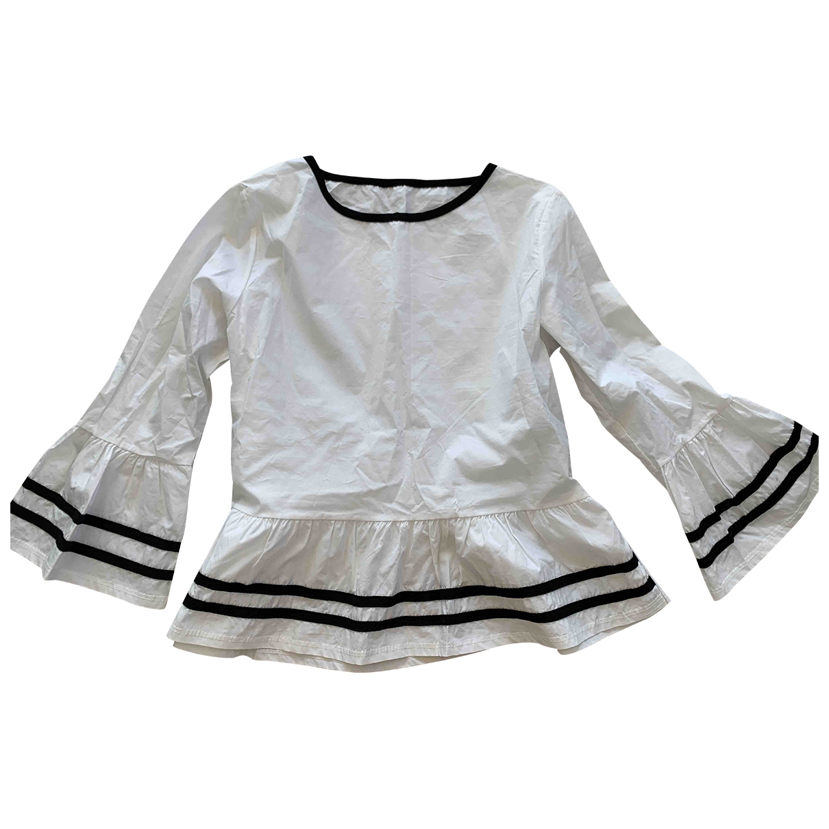 Non Signé / Unsigned Hippie Chic White  top for Women 40 FR