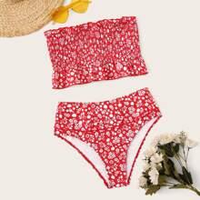 Set de bikini de cintura alta con bandeau smocked floral