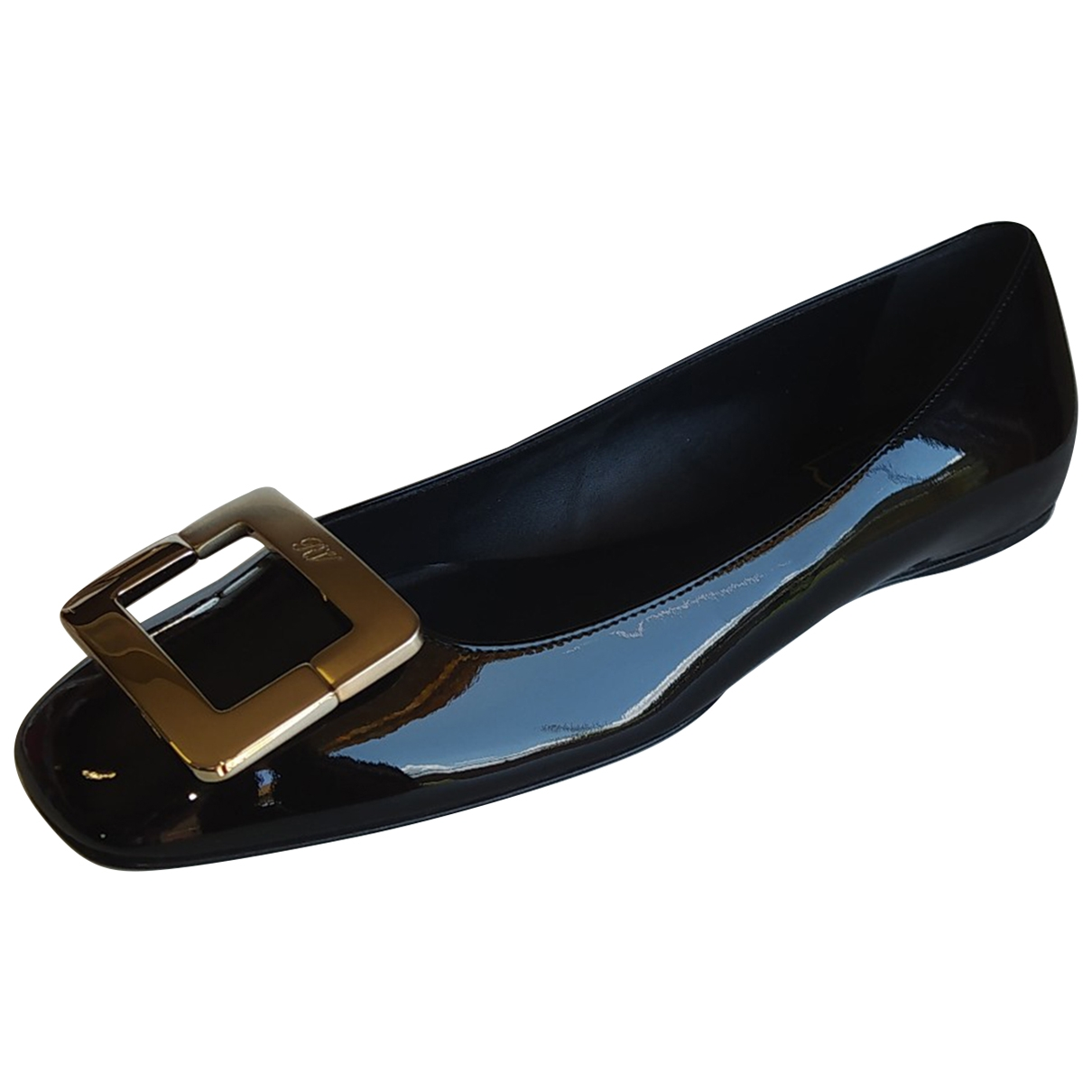 Roger Vivier Gommetine Gold Leather Ballet flats for Women 37.5 EU