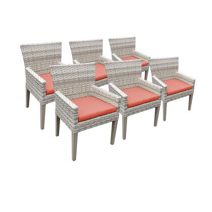 TKC245b-DC-3x-C-TANGERINE 6 Fairmont Dining Chairs With Arms with 2 Covers: Beige and