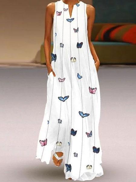 Milanoo Vestido largo blanco  Moda Mujer sin mangas de poliester Vestidos Mariposa para moldear el cuerpo con escote redondo estilo bohemio Verano