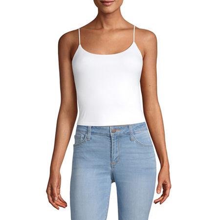 Arizona-Juniors Womens Scoop Neck Camisole, X-small , White