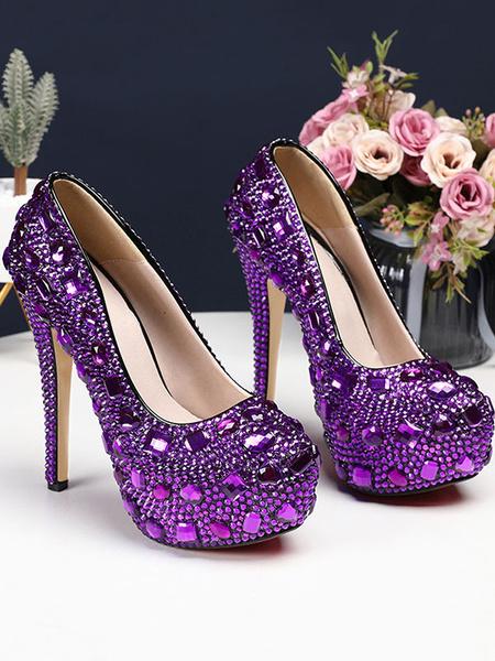Milanoo Zapatos de noche Rhinestones de punta redonda Bombas de fiesta de tacon alto Zapatos de novia