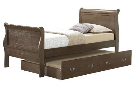 Louis Phillipe Collection G3105G-TTB Twin Size Bed with Twin Size Trundle Included  Metal Hardware  Sleigh Headboard  Real Wood Veneer and Solid Wood